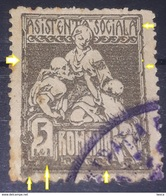 Error REVENUE STAMPS ROMANIA 1921, Social Assistance 5 Lei Gray, Used - Revenue Stamps