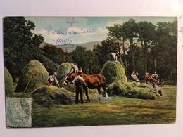 CPA, Scène Paysane La Récolte Du Foin, Faire Les FOINS, Fourrage, Faucheurs, Chevaux, Attelage, écrite Vers 1909, Timbre - Paysans