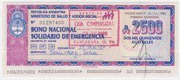 Argentina Bono Nacional Solidario De Emergencia - 2500 2.500 Australes 15.12.1989 - Argentina
