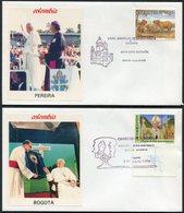 1986 Colombia Pope John Paul 2, Papal Visit Covers (6) Pereira Bogota Tumaco Cali Bucaramanga Cartegena - Colombia