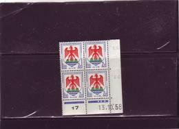 N°1184 - 2F Blason De NICE -A De A+B - 1° Tirage Du 9.10.58 Au 7.11.58 - 13.10.1958 - - Dated Corners