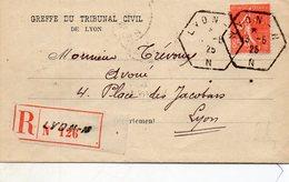 Recommandé De LYON,cachet Du 13/6/1925,L.A.C. - Postmark Collection (Covers)
