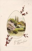 AK Frohes Osterfest - Dorf Frühling Palmkätzchen - Reliefdruck - 1907 (41322) - Ostern