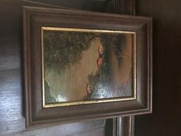 Fantastico Dipinto Di Paesaggio Su Rame Con Cornice Anni 50 - Oils