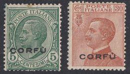 ITALIA - CORFU' - 1923 - Due Valori Nuovi MH: Unificato 1 E 5. - 8. WW I Occupation