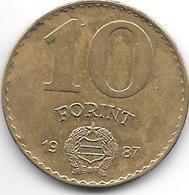 Hungary 10  Forint 1987 Km 636  Xf+ - Hungría