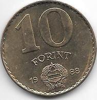 Hungary 10  Forint 1988 Km 636  Xf+ - Hungría