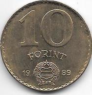 Hungary 10  Forint 1989 Km 636  Xf+ - Hungría