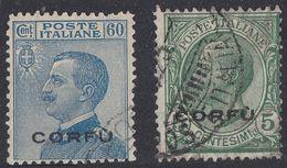 ITALIA - CORFU' - 1923 - Due Valori Usati: Unificato 1 E 7. - 8. Occupazione 1a Guerra