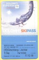 SKIPASS - Dolomiti Superski - Gitschberg Jochtal - Rio Pusteria - Giornaliero Maschio - 2018 - Biglietti D'ingresso