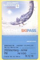 SKIPASS - Dolomiti Superski - Gitschberg Jochtal - Rio Pusteria - Pomeridiano Maschio - 2018 - Biglietti D'ingresso