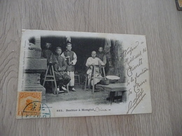 CPA Chine China Barbier à Mogtzé T 1 Old Stamps Circulated Cachet Paypal Ok Out Of Europe - China
