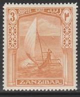 Zanzibar 1914 - SG 272, 3rupee - NATIVE BOAT / DHOW - MLH - Zanzibar (...-1963)
