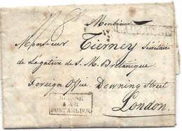 SUISSE - GB LONDON 1831 Lettre Avec Cachet Linéaire LAUSANNE Pour Légation Britannique Downing Street, SUISSE PONTARLIER - Schweiz