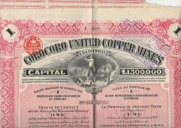 TITRE DE UNE ACTION 1 LIVRE STERLING - COROCORO UNITED COPPER MINES -1923 - Mines