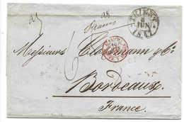 """Cachet D'entrée """" AUTRICHE BUREAU FRANÇAIS 2 DE BALE """" Sur Lettre (sans Contenu) De Trieste De 1847 Pour Bordeaux - Marcophilie (Lettres)"""