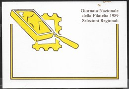 GIORNATA NAZIONALE DELLA FILATELIA 1989 - EDIZ. MINISTERO POSTE - SCRITTA AL RETRO - Postal Services