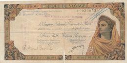 CHEQUE DE VOYAGE 10000 FRANCS FRANCAIS - Chèques & Chèques De Voyage