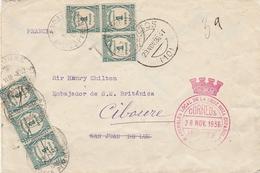 1936 ZONA NACIONAL  CRUZ ROJA BURGOS  Carta Hasta Embajador Britanica  Taxada ELA 124 - 1931-Hoy: 2ª República - ... Juan Carlos I