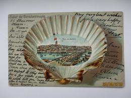 TURKEY   SALUT DE CONSTANTINOPLE  PONT DE GALATA , SEA SHELL , RUSSIA ODESSA SS MAIL , OLD POSTCARD   , O - Turkey