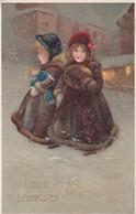 AK Frohe Weihnachten - Kinder In Pelzmänteln - Puppe Schnee - Künstlerkarte - 1912 (41338) - Altri