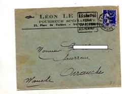 Lettre Flamme Daguin Saint Lo  Rempart Entete Fourreur - Marcophilie (Lettres)