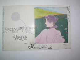 Original Raphael Kirchner Art Nouveau Jugendstil Postcard Auf Sommerfrische XVIII/6 Philipp&Kramer - Kirchner, Raphael