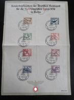Gedenkblatt Olympiade 1936 - Erhaltung II - Briefe U. Dokumente