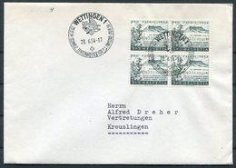 1954 Switzerland Wettingen Schweiz. Zentralfeier Für P.A.Zwyssig.cover. Pro Patria Music. Block Of 4 - Switzerland
