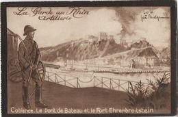 ALLEMAGNE COBLENCE PONT DE BATEAU ET FORT EHRENBREITSTEIN - Koblenz