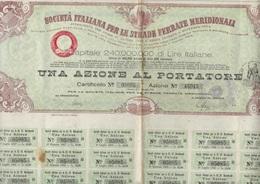 ACTION AU PORTEUR -SOCIETE ITALIENNE POUR LES CHEMINS DE FER MERIDIONAUX  1885 - Railway & Tramway