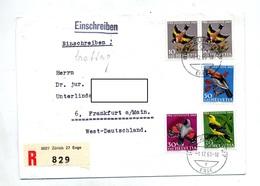 Lettre Recommandee Zurich Sur Juventute 1969 Oiseau - Marcophilie