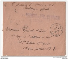 FRANCE MILITARIA LETTRE EN FM CACHETS MASEVAUX 30 5 1915( ALSACE LIBEREE) 6 Eme SCT. CHEMIN DE FER DE CAMPAGNE - Marcophilie (Lettres)
