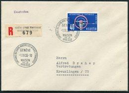 1955 Switzerland Conférence à Quatre Maison De La Presse 1955 Genève Registered Cover - Switzerland