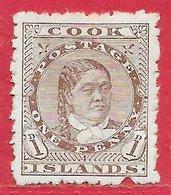 Cook (îles) N°5B 1p Brun (dentelé 11,5 X12) 1893 (*) - Cook