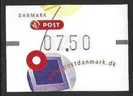 Denmark Danmark Dänemark 2001 ATM Franking Labels Vignettes D'Affranchissement Michel No. 14 7,50 MNH Neuf Postfrisch ** - ATM/Frama Labels