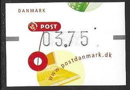 Denmark Danmark Dänemark 2001 ATM Franking Labels Vignettes D'Affranchissement Michel No. 15 3,75 MNH Neuf Postfrisch ** - ATM/Frama Labels