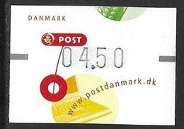 Denmark Danmark Dänemark 2001 ATM Franking Labels Vignettes D'Affranchissement Michel No. 15 4,50 MNH Neuf Postfrisch ** - ATM/Frama Labels