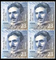 Serbia 2019 Nikola Tesla, Definitive Stamp, Block Of 4 MNH - Serbia