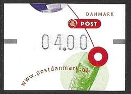 Denmark Danmark Dänemark 2001 ATM Franking Labels Vignettes D'Affranchissement Michel No. 16 4,00 MNH Neuf Postfrisch ** - ATM/Frama Labels
