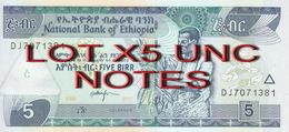 ETHIOPIA 5 BIRR 2017 P-47 New LOT X5 UNC NOTES */* - Ethiopia