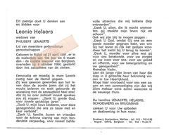 D 763. LEONIE HELAERS  Wed. P. Lenaerts - °RIJKEL 1881 /+ Oudste Inwoner Van BORGLOON (103jaar) In 1984 - Images Religieuses