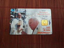 Phonecard Malta Pope John Paul II Used Rare - Malta