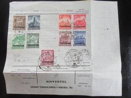 Ersttag Satz Überdruck Luxemburg + Stempel Tag Der Briefmarke Auf Telegramm! - Allemagne
