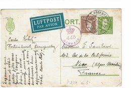 DIV1 - DANEMARK CARTE PSTALE CIRCULEE TARIF AVION - Postal Stationery