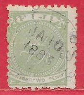 Fidji N°30 2p Vert-jaune (dentelé 10-11) 1882 (JA 10 1883) O - Fiji (...-1970)
