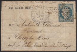 """Ballon Monté """"Le Duquesne"""" Passy-les-Paris 6/JANV./1871 Pour Chessy-les-Mines - 1870 Siège De Paris"""