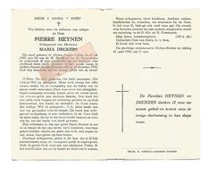 D. 768. PIERRE HEYNEN Echtg. M. Deckers - °ZICHEN-ZUSSEN-BOLDER 1910 En Aldaar +wrede Ramp 1958- 30 Jaar Zangleider Koor - Images Religieuses