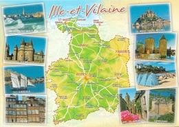 Cartes Géographiques - Nouvelle Carte De L' ILLE ET VILAINE - 35 - 9 Sites Touristiques - Cpm - Vierge - - Maps