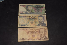 Lot 3 Billets 10000 Zlotych 1988 200 Zlotych 1988 100 Zlotych 1976 - Pologne